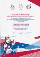Сертификат волонтера Универсиады